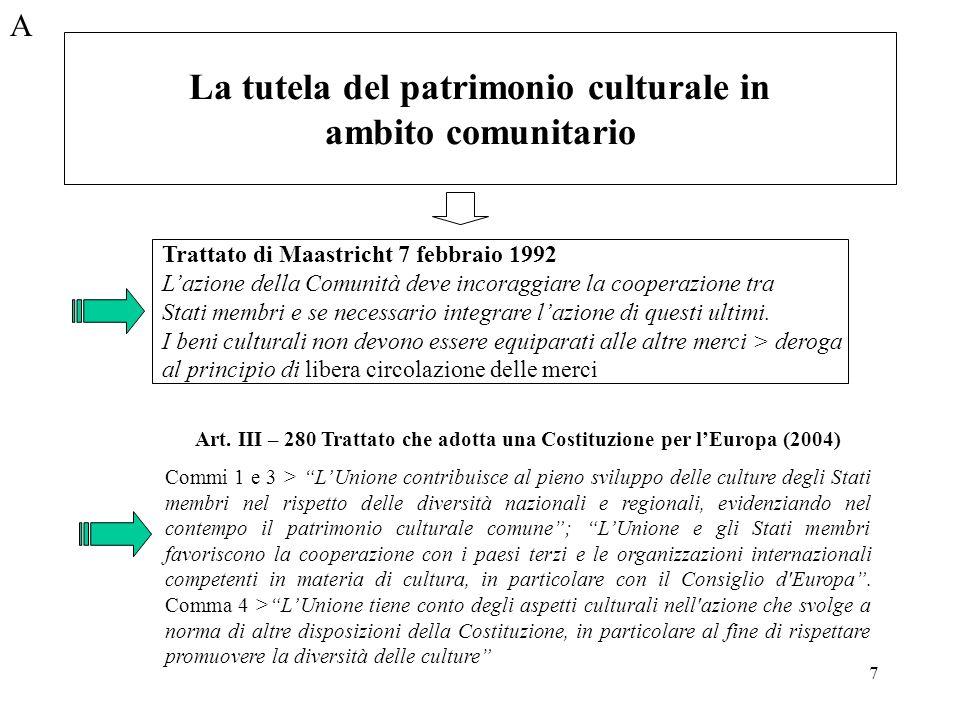 La tutela del patrimonio culturale in