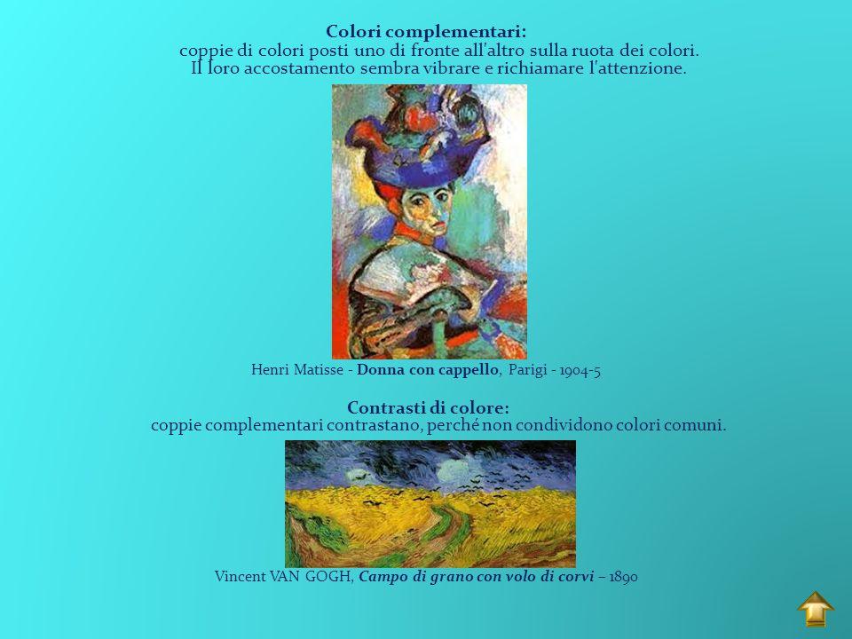 Colori complementari: coppie di colori posti uno di fronte all altro sulla ruota dei colori. Il loro accostamento sembra vibrare e richiamare l attenzione.