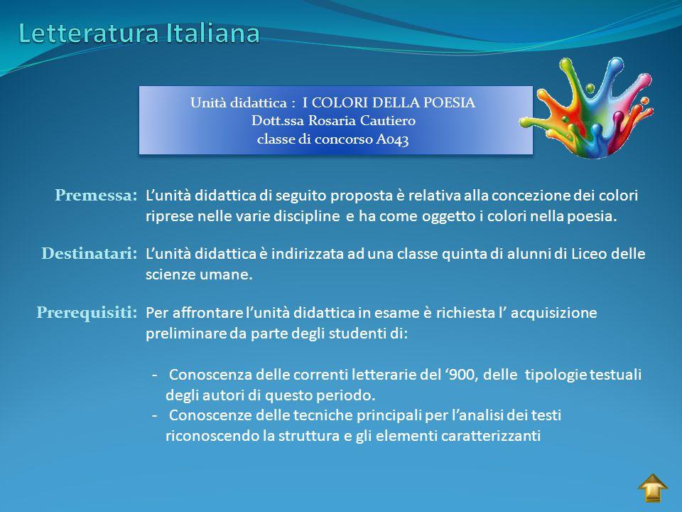 Letteratura Italiana Premessa: