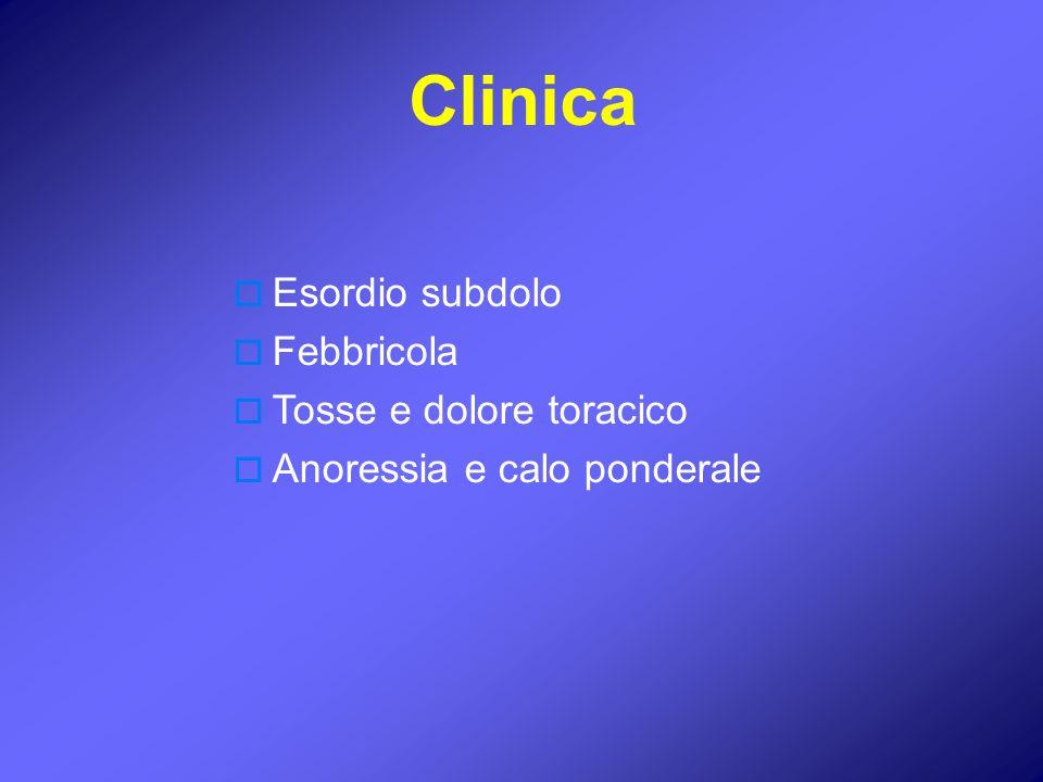 Clinica Esordio subdolo Febbricola Tosse e dolore toracico