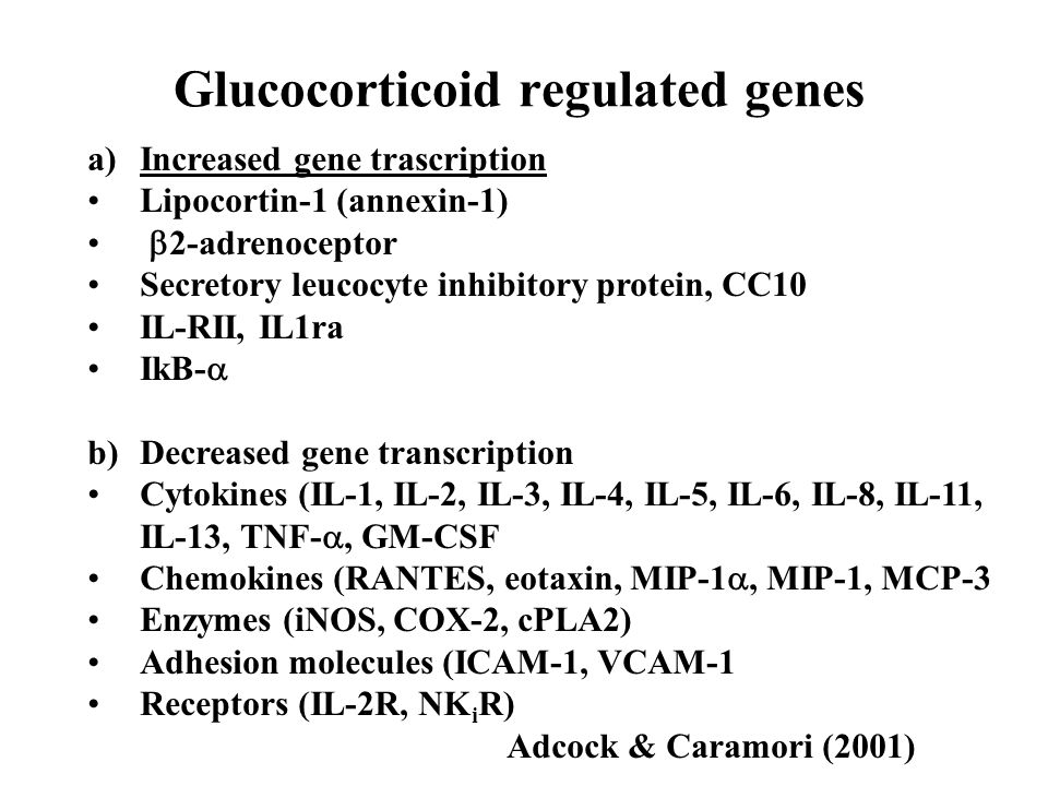 Glucocorticoid regulated genes