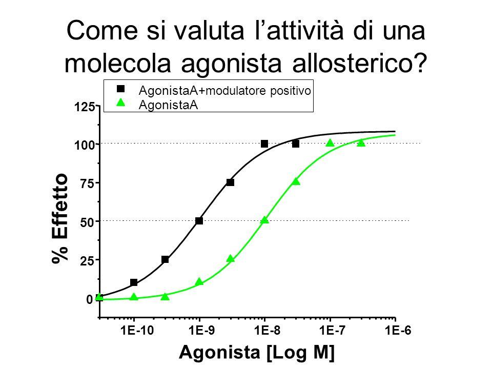 Come si valuta l'attività di una molecola agonista allosterico