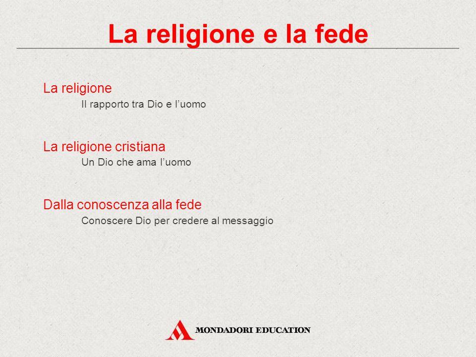 La religione e la fede La religione La religione cristiana