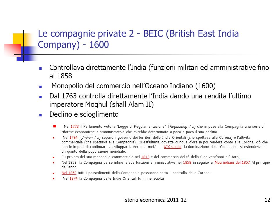Le compagnie private 2 - BEIC (British East India Company)