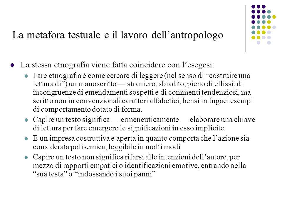 La metafora testuale e il lavoro dell'antropologo