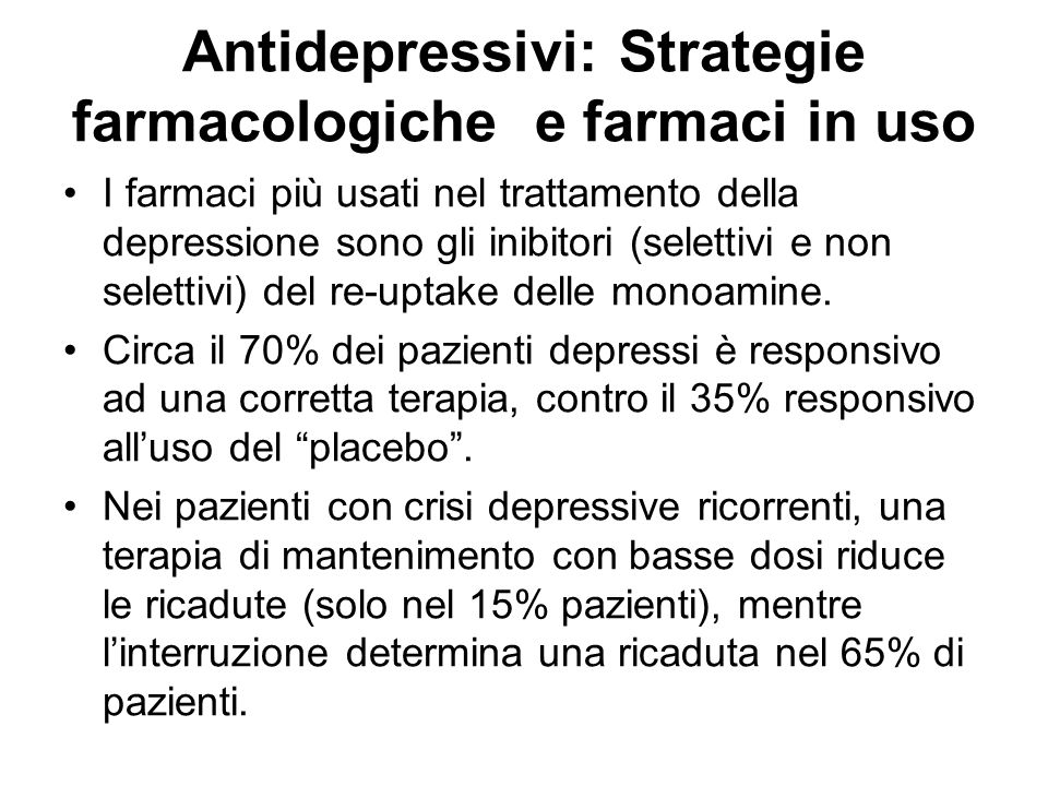 Antidepressivi: Strategie farmacologiche e farmaci in uso