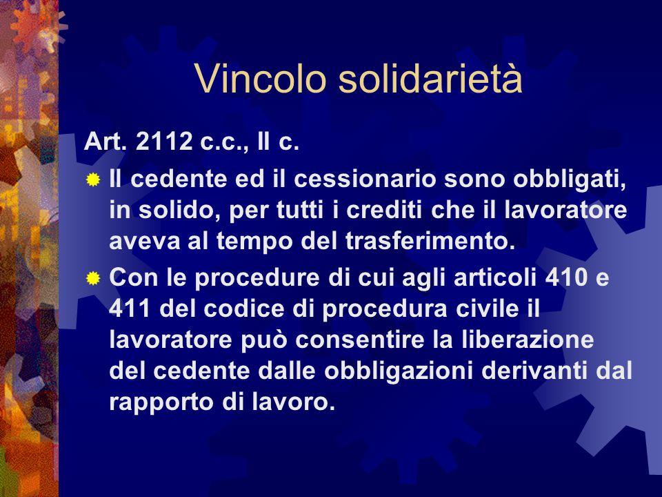 Vincolo solidarietà Art. 2112 c.c., II c.