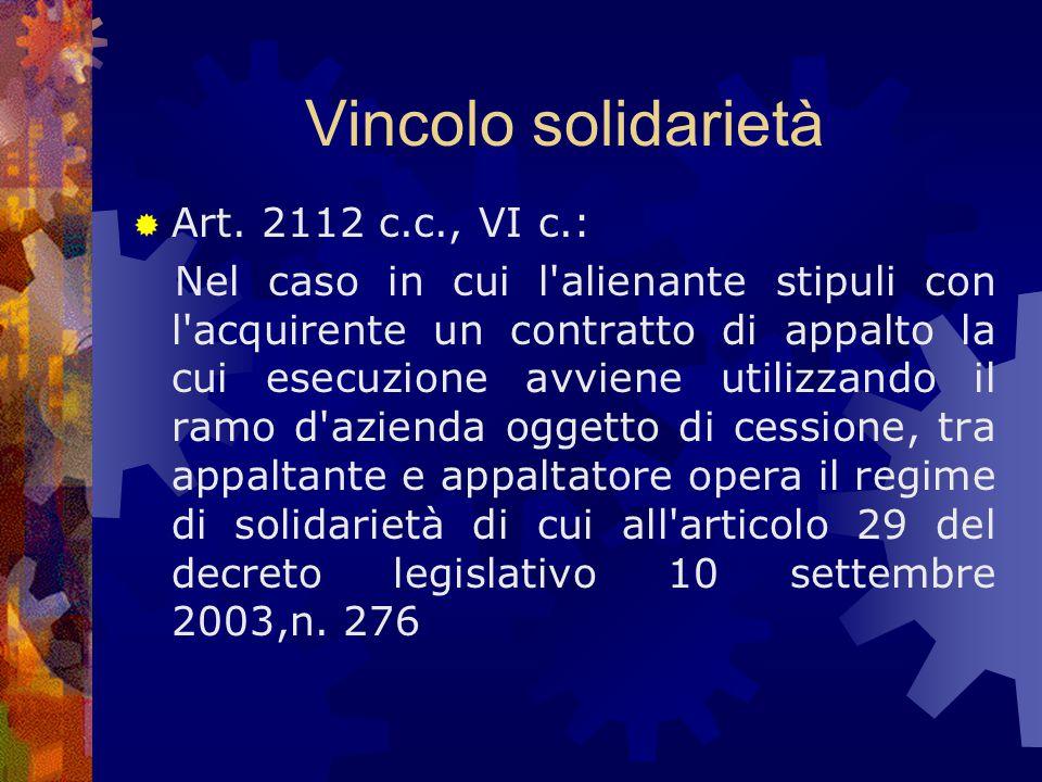 Vincolo solidarietà Art. 2112 c.c., VI c.: