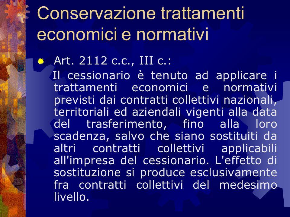 Conservazione trattamenti economici e normativi