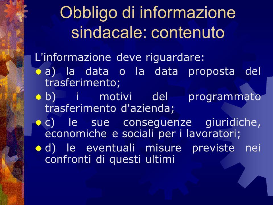 Obbligo di informazione sindacale: contenuto