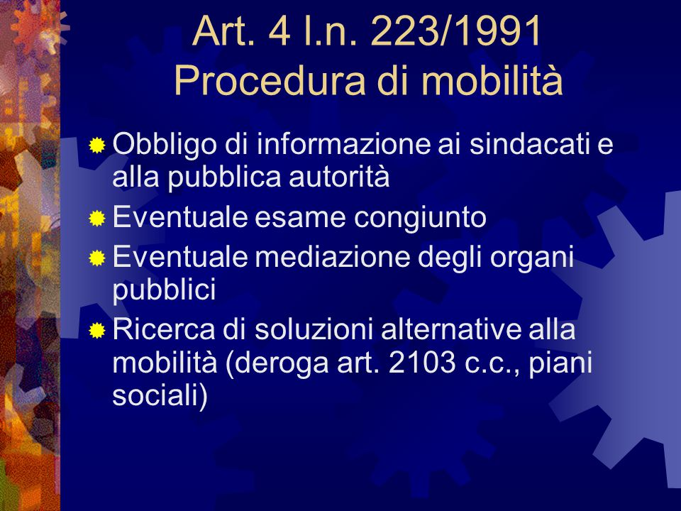 Art. 4 l.n. 223/1991 Procedura di mobilità