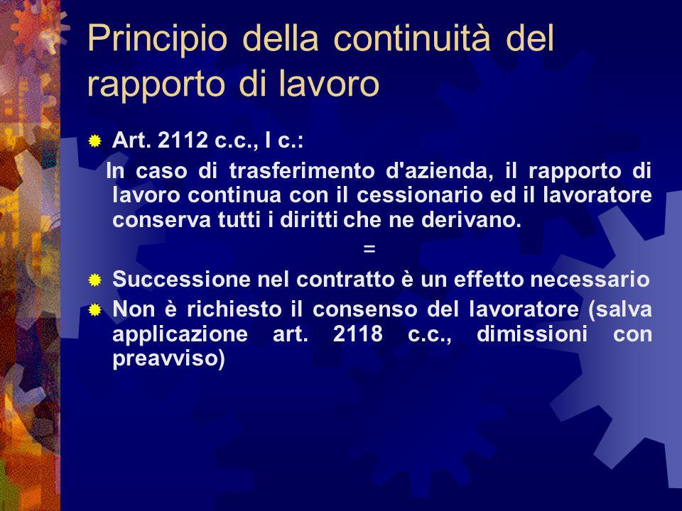 Principio della continuità del rapporto di lavoro