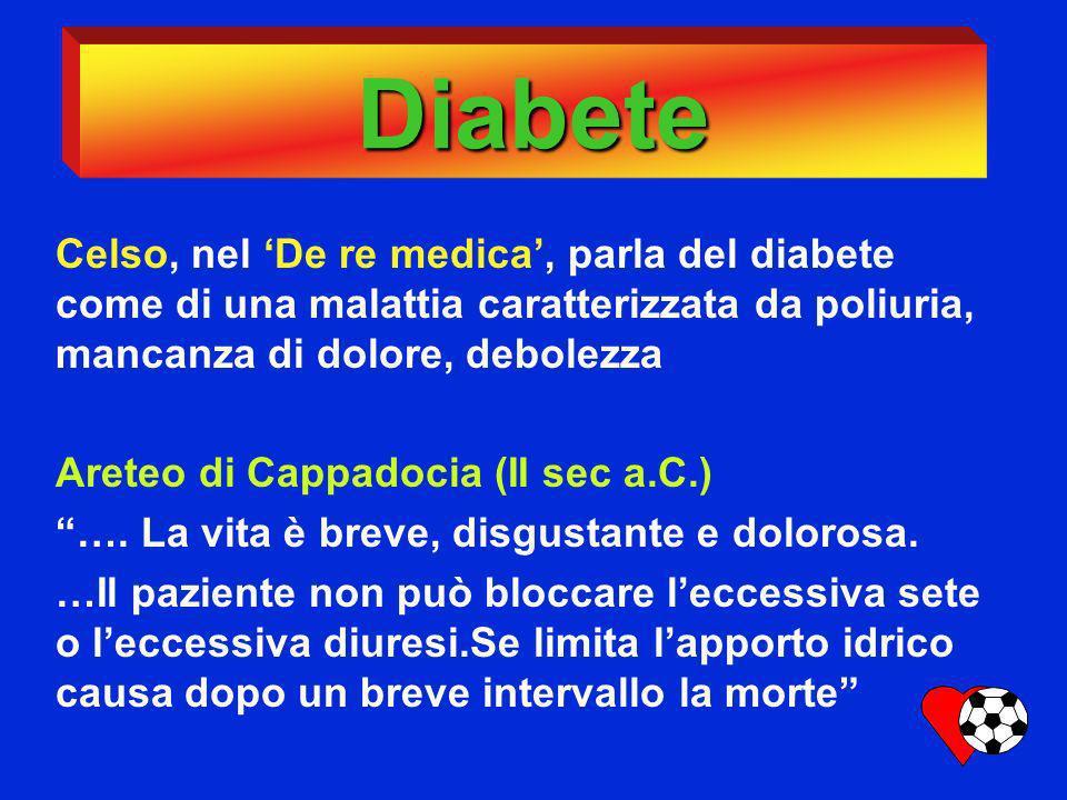 Diabete Celso, nel 'De re medica', parla del diabete come di una malattia caratterizzata da poliuria, mancanza di dolore, debolezza.