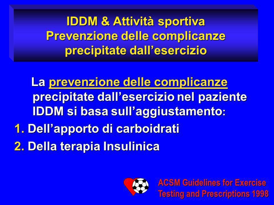 1. Dell'apporto di carboidrati 2. Della terapia Insulinica