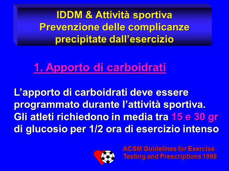 1. Apporto di carboidrati