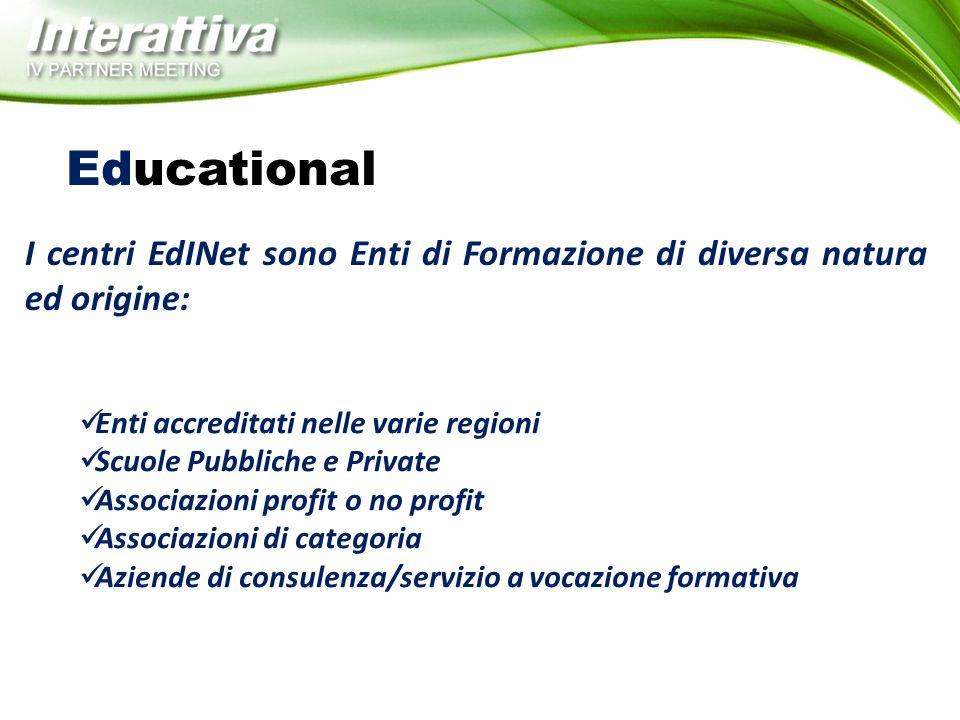 Educational I centri EdINet sono Enti di Formazione di diversa natura ed origine: Enti accreditati nelle varie regioni.