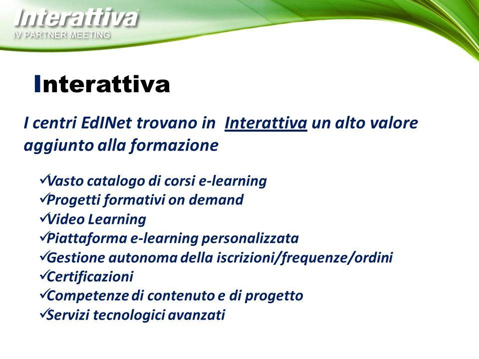 Interattiva I centri EdINet trovano in Interattiva un alto valore aggiunto alla formazione. Vasto catalogo di corsi e-learning.
