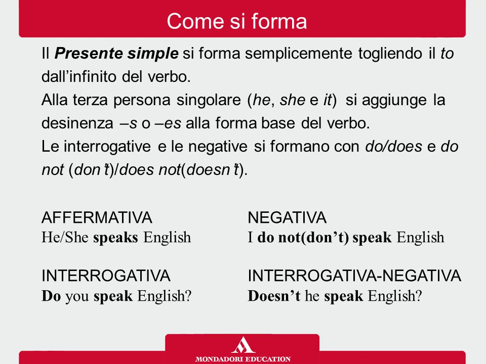 Come si forma Il Presente simple si forma semplicemente togliendo il to. dall'infinito del verbo.
