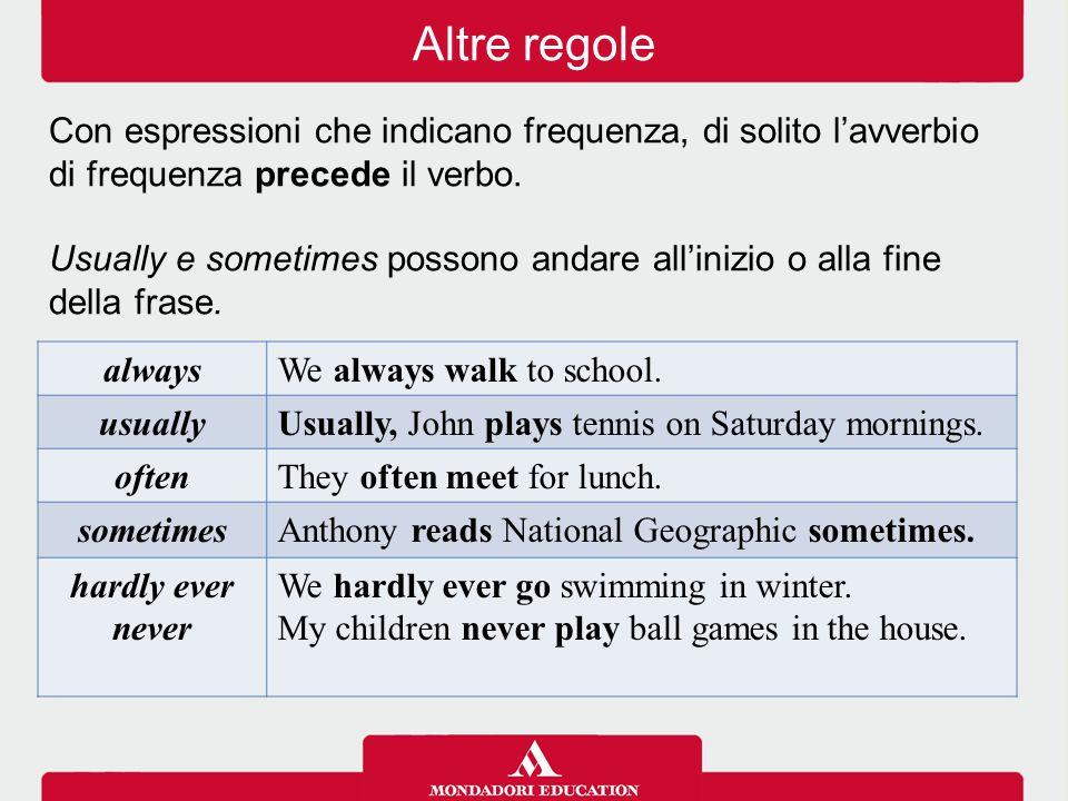 Altre regole Con espressioni che indicano frequenza, di solito l'avverbio di frequenza precede il verbo.