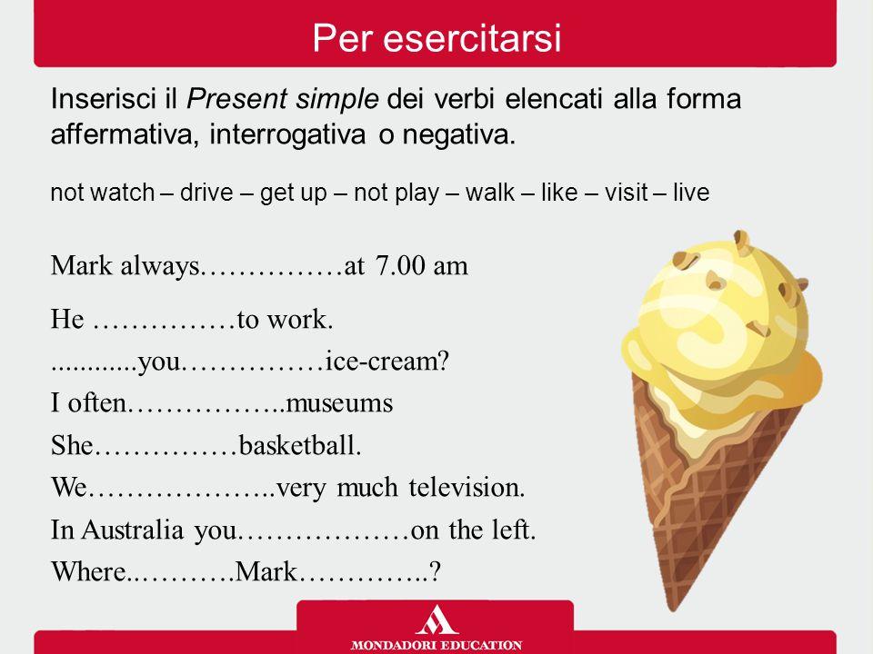 Per esercitarsi Inserisci il Present simple dei verbi elencati alla forma affermativa, interrogativa o negativa.