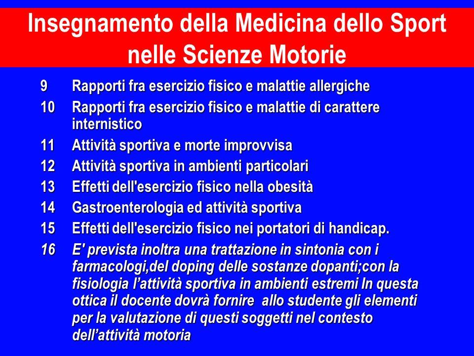 Insegnamento della Medicina dello Sport nelle Scienze Motorie