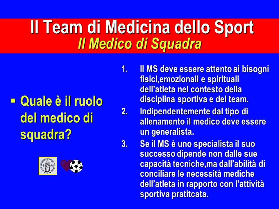 Il Team di Medicina dello Sport Il Medico di Squadra