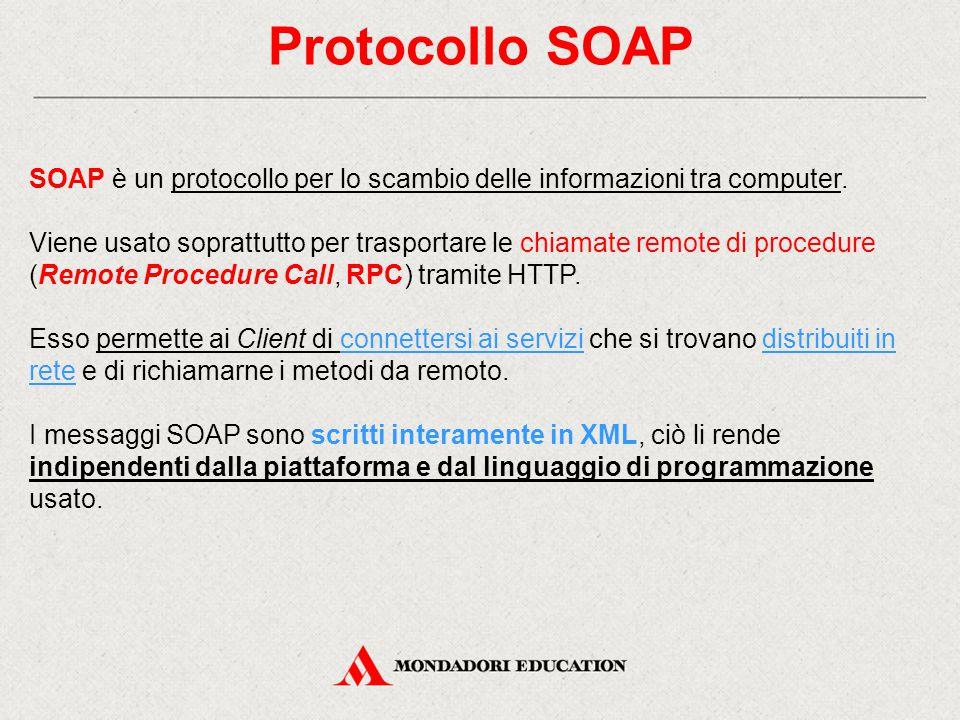 Protocollo SOAP SOAP è un protocollo per lo scambio delle informazioni tra computer.