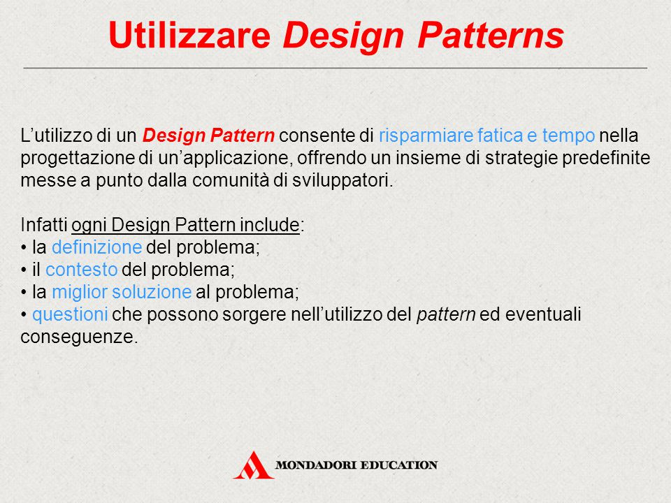 Utilizzare Design Patterns