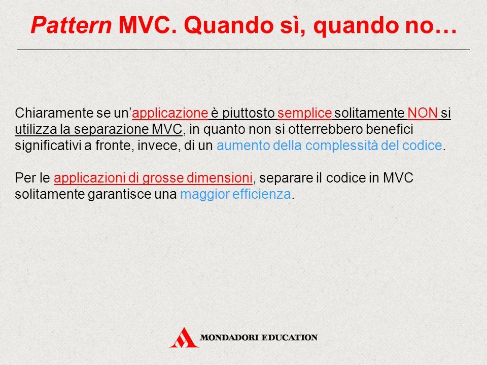 Pattern MVC. Quando sì, quando no…