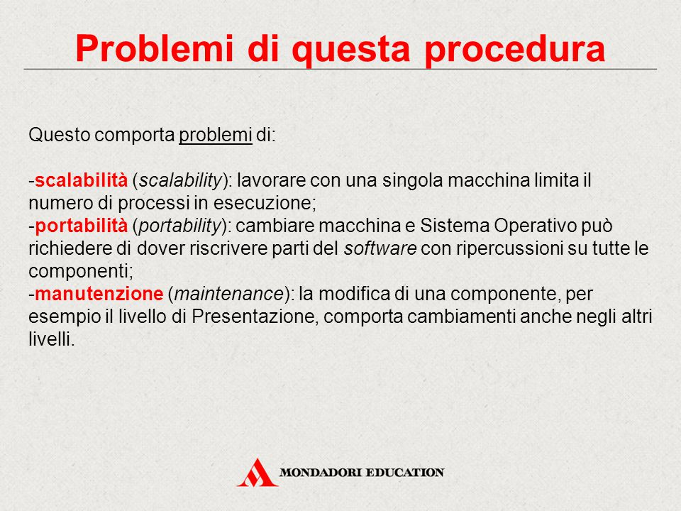 Problemi di questa procedura