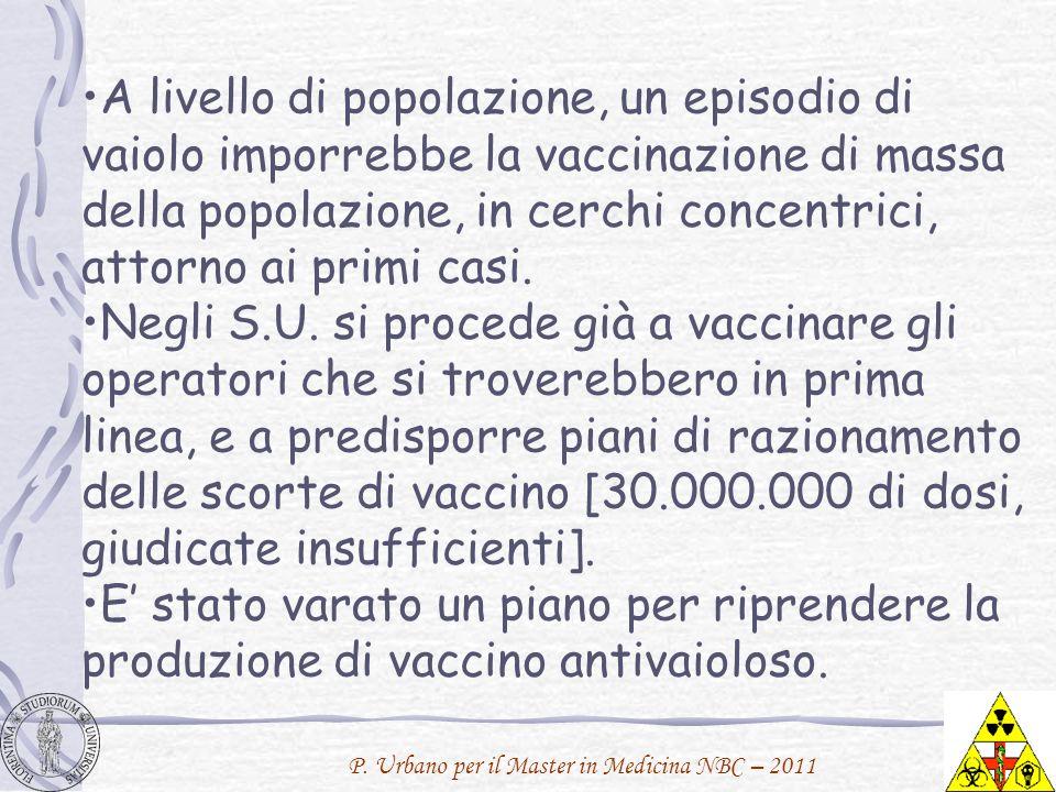 A livello di popolazione, un episodio di vaiolo imporrebbe la vaccinazione di massa della popolazione, in cerchi concentrici, attorno ai primi casi.