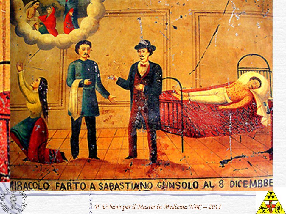Sebastiano Cunsolo soffre di vaiolo, chiaramente visibile dale macchie rosse sulla sua faccia, sul torace, braccia e gambe. La donna a sinistra, verosimilmente sua moglie o sua sorella, alza le braccia in preghiera verso Santa Marta invocando una pronta guarigione mentre il medico presiede alle cure.