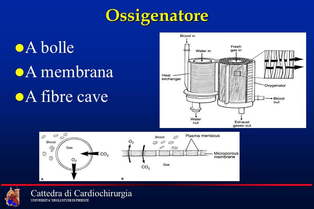 Ossigenatore A bolle A membrana A fibre cave
