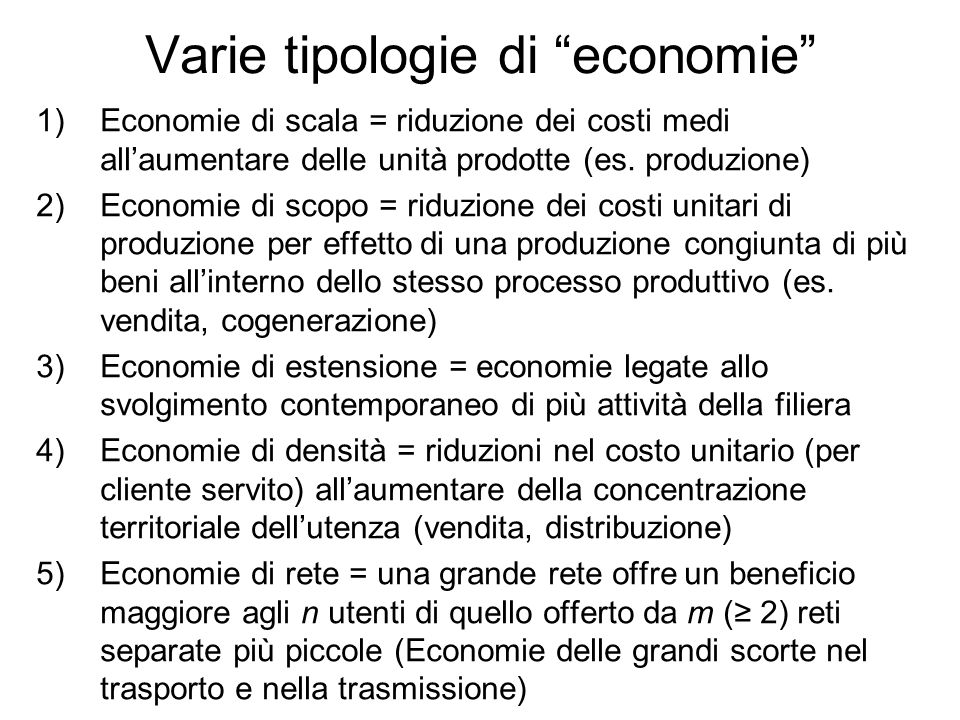 Varie tipologie di economie