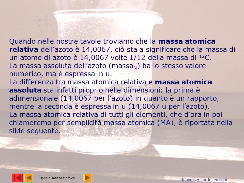 Quando nelle nostre tavole troviamo che la massa atomica relativa dell'azoto è 14,0067, ciò sta a significare che la massa di un atomo di azoto è 14,0067 volte 1/12 della massa di 12C.