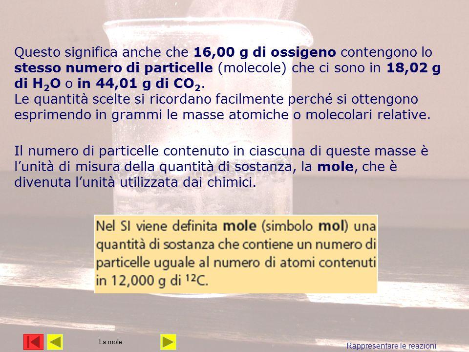 Il numero di particelle contenuto in ciascuna di queste masse è l'unità di misura della quantità di sostanza, la mole, che è divenuta l'unità utilizzata dai chimici.