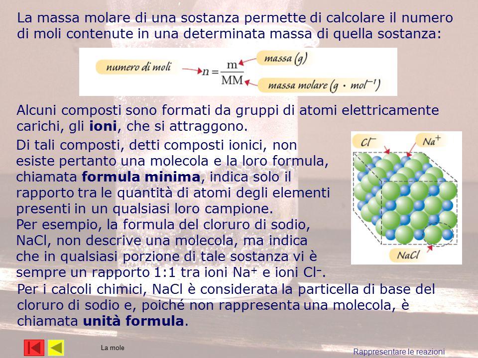 La massa molare di una sostanza permette di calcolare il numero di moli contenute in una determinata massa di quella sostanza: