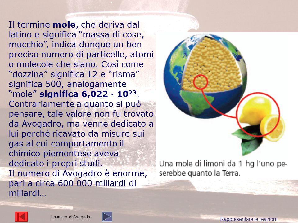 Il termine mole, che deriva dal latino e significa massa di cose, mucchio , indica dunque un ben preciso numero di particelle, atomi o molecole che siano. Così come dozzina significa 12 e risma significa 500, analogamente mole significa 6,022 ∙ 1023.