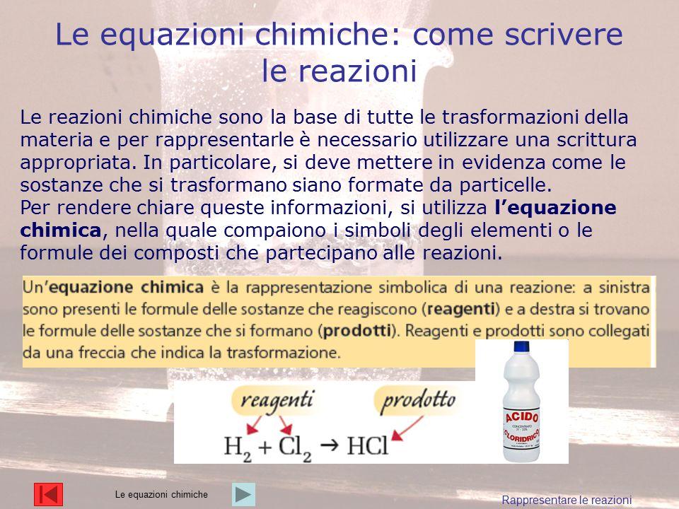 Le equazioni chimiche: come scrivere le reazioni