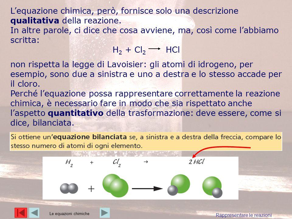 L'equazione chimica, però, fornisce solo una descrizione qualitativa della reazione.