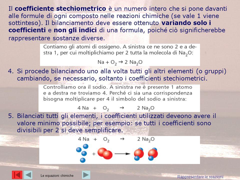 Il coefficiente stechiometrico è un numero intero che si pone davanti alle formule di ogni composto nelle reazioni chimiche (se vale 1 viene sottinteso). Il bilanciamento deve essere ottenuto variando solo i coefficienti e non gli indici di una formula, poiché ciò significherebbe rappresentare sostanze diverse.