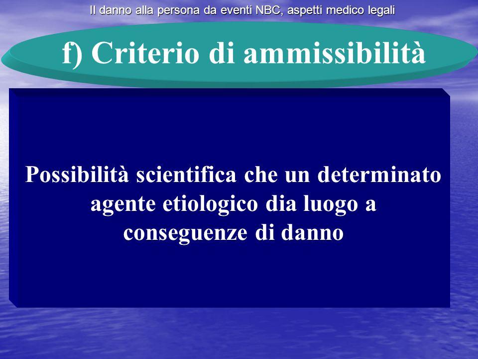 f) Criterio di ammissibilità