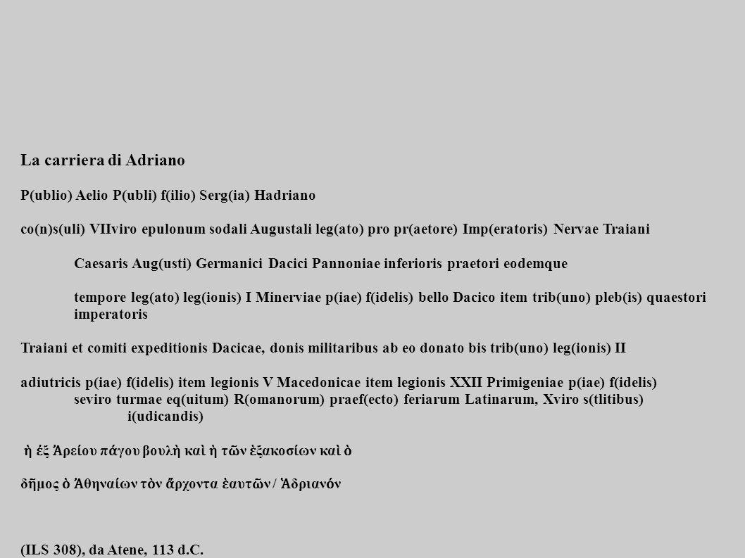 La carriera di Adriano P(ublio) Aelio P(ubli) f(ilio) Serg(ia) Hadriano.