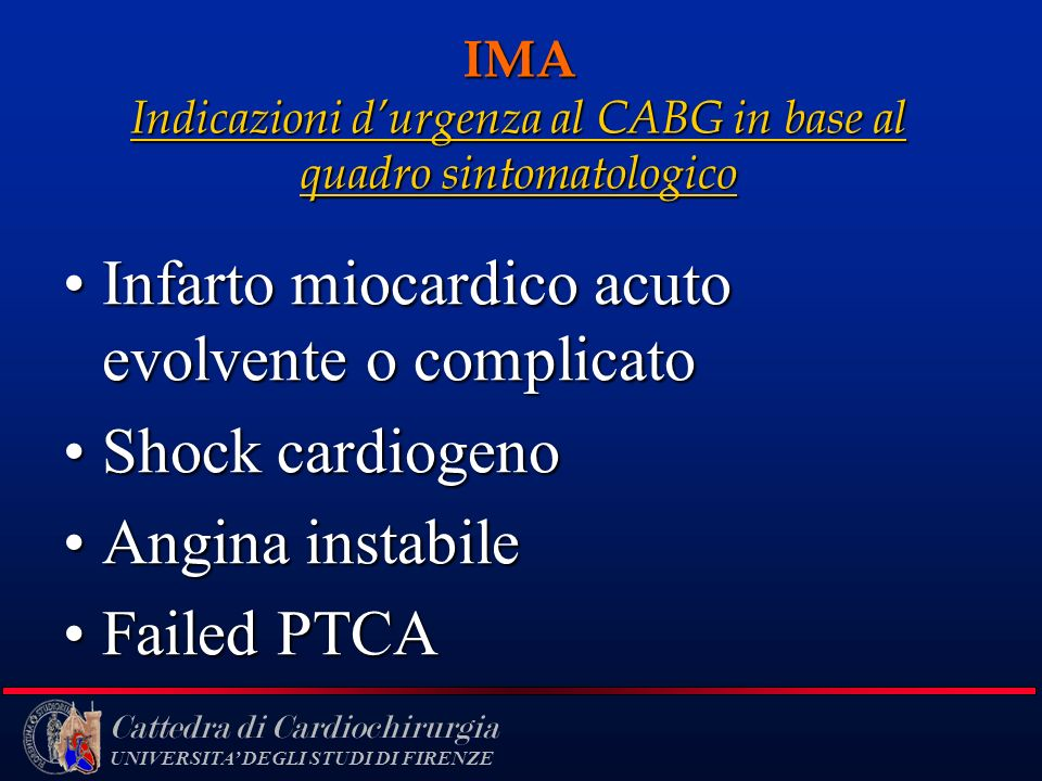 IMA Indicazioni d'urgenza al CABG in base al quadro sintomatologico