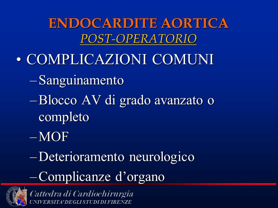 ENDOCARDITE AORTICA POST-OPERATORIO