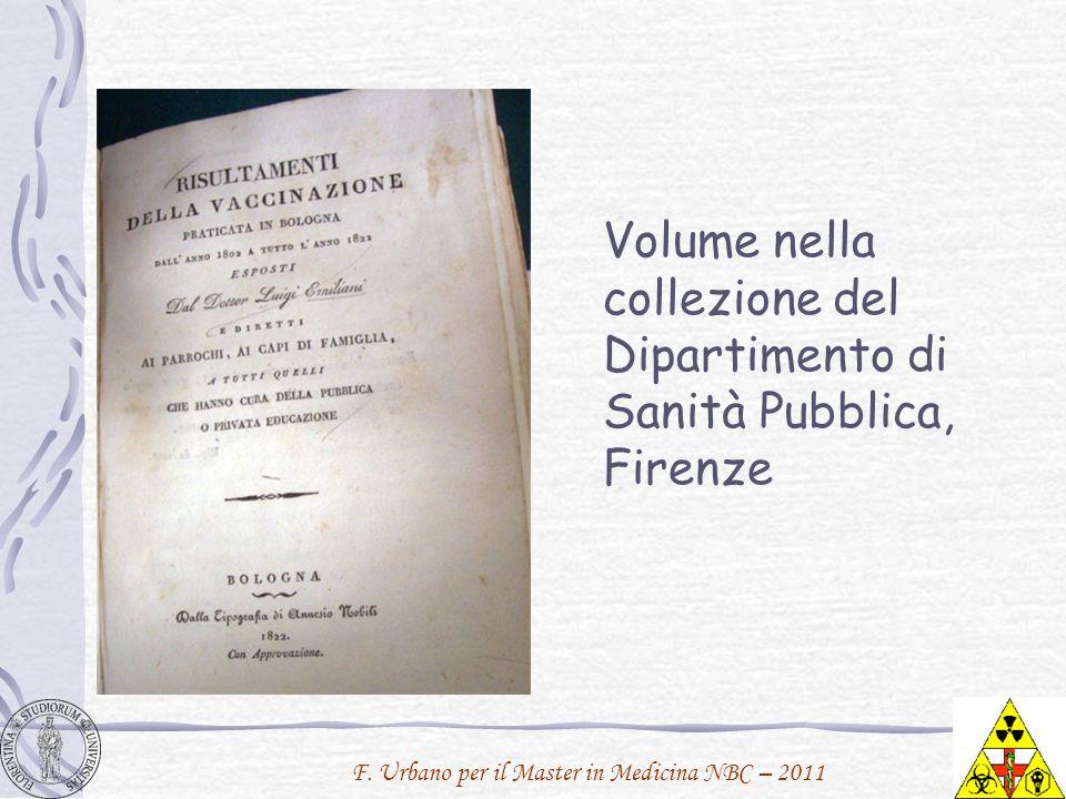 Volume nella collezione del Dipartimento di Sanità Pubblica, Firenze