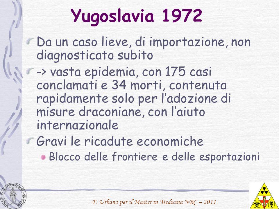 Yugoslavia 1972 Da un caso lieve, di importazione, non diagnosticato subito.