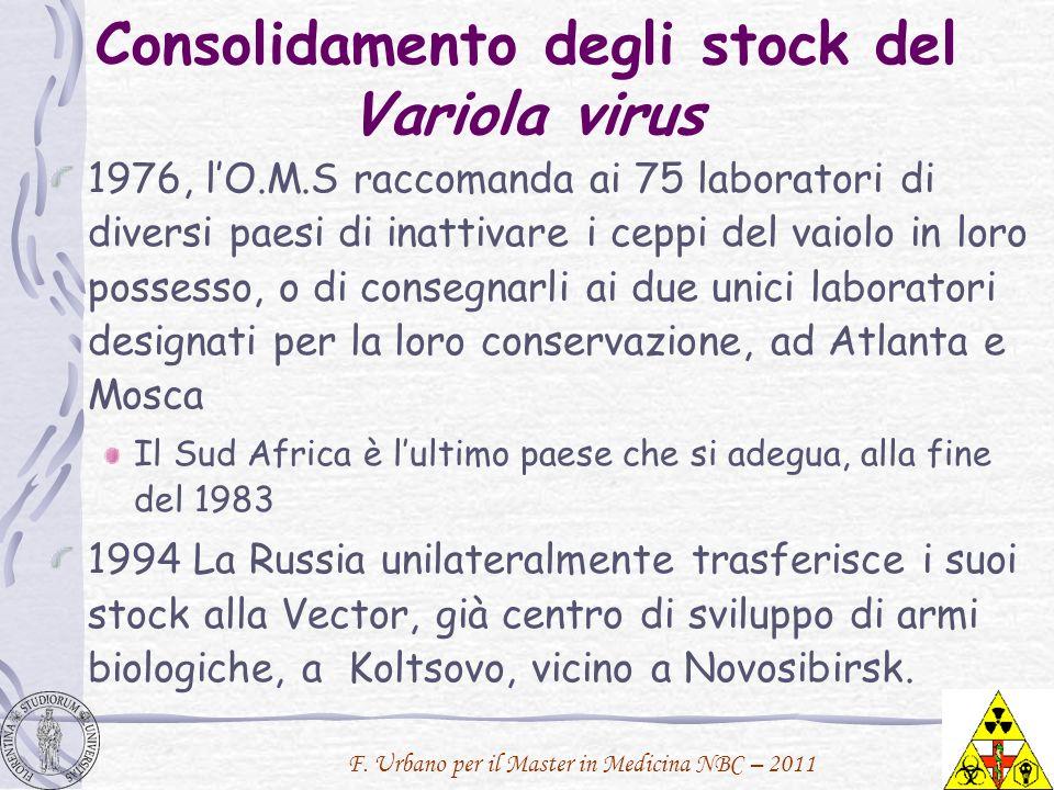 Consolidamento degli stock del Variola virus