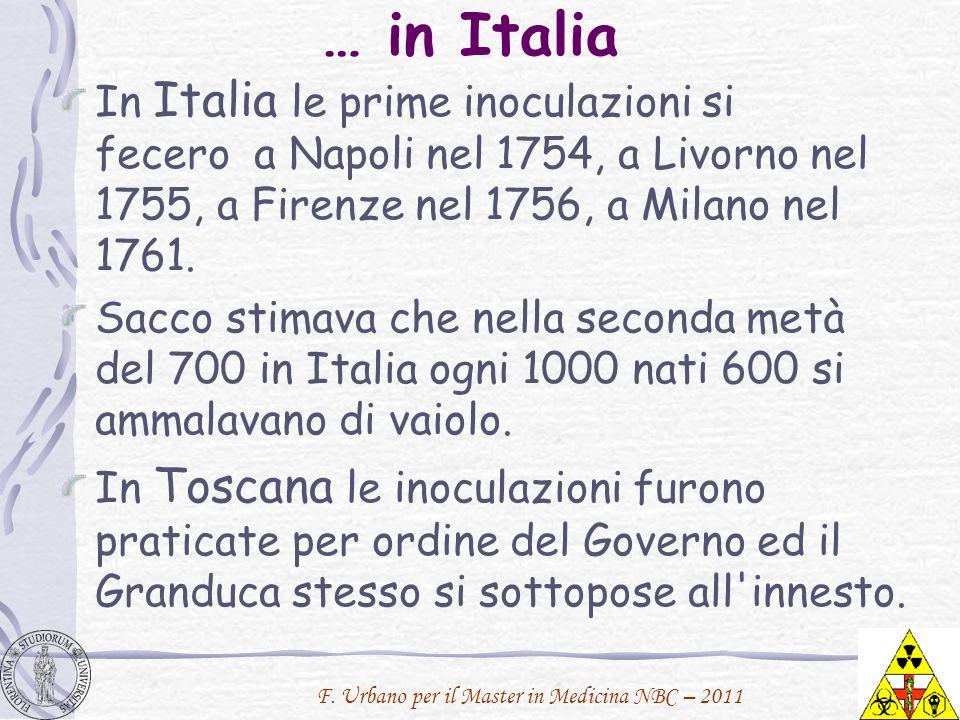 … in Italia In Italia le prime inoculazioni si fecero a Napoli nel 1754, a Livorno nel 1755, a Firenze nel 1756, a Milano nel 1761.