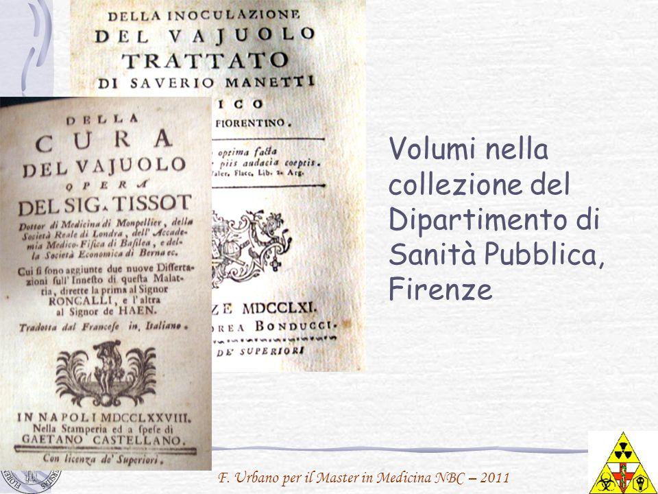 Volumi nella collezione del Dipartimento di Sanità Pubblica, Firenze